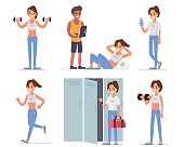 Fitness woman training in gym. Flat style vector illustration isolated on white  background.