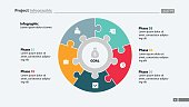 Five elements process chart slide template. Business data. Plan, circle. Creative concept for infographic, presentation, report. Can be used for topics like finance, teamwork.