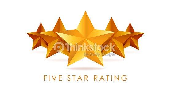 Five golden rating star vector illustration in white background : stock vector