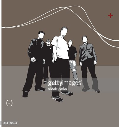 Five guys in a band like pose (vector) : Vector Art