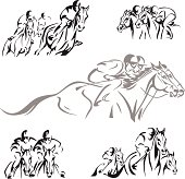 Dynamic horse-racing scenes based on brush drawings. For emblems, invitations, event flyer etc.