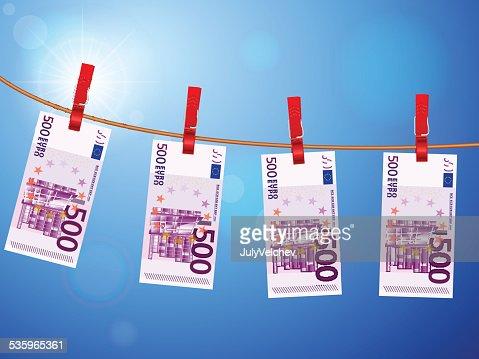 five hundred euro banknotes on clothesline : Vector Art