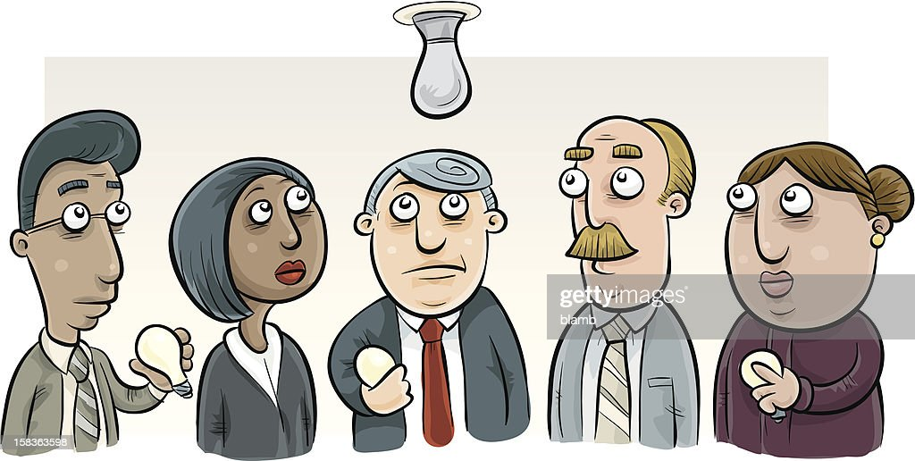 Five Office Workers Looking at Burnt Out Lightbulb : Vector Art