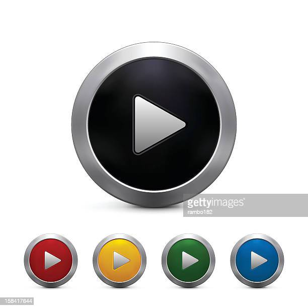 Five play button icons in a variety of colors