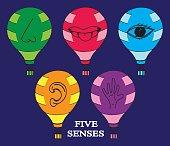 Five Senses Icon with air balloon