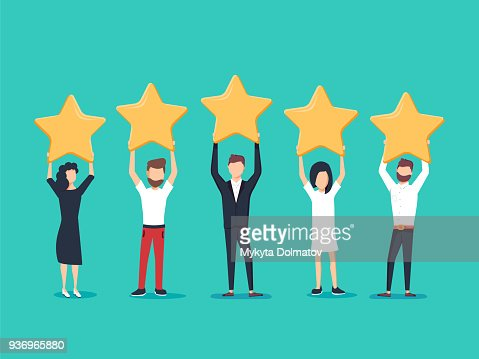 Five stars rating flat style vector concept. People are holding stars over the heads. Feedback consumer : stock vector
