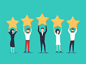 Five stars rating flat style vector concept. People are holding stars over the heads. Feedback consumer or customer review evaluation, satisfaction level and critic icon concept.