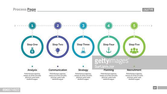Five Step Process Chart Slide Template : stock vector