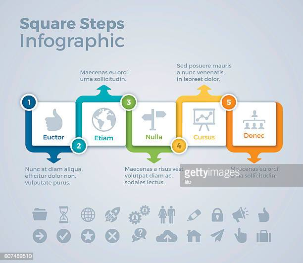Five Step Squares Infographic Concept