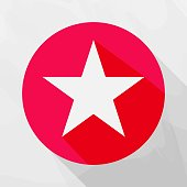 Five-pointed star vector icon. Flat star symbol in the circle with shadow. Layers grouped for easy editing illustration.