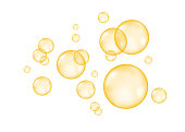 Fizz. Fizzing  air  golden  bubbles on white  background. Vector texture.