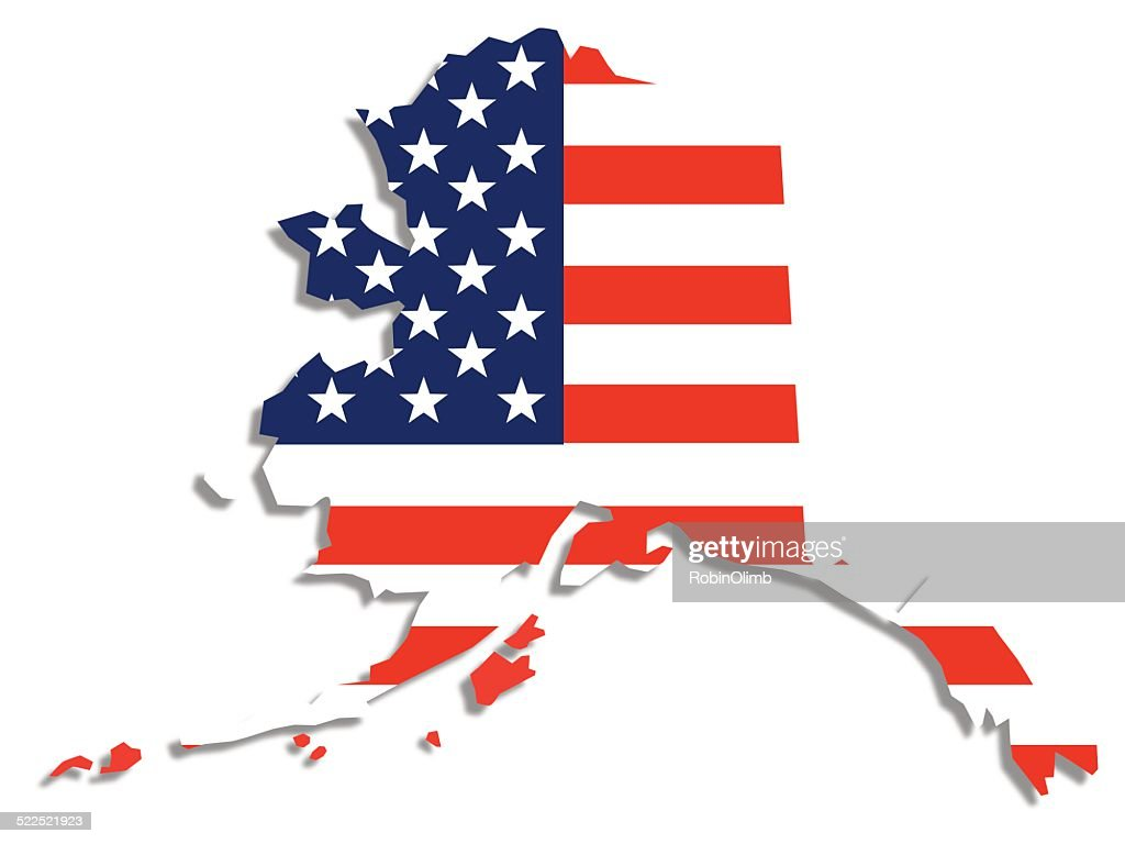Usa Flag Alaska Map Vector Art Getty Images - Alaska map usa
