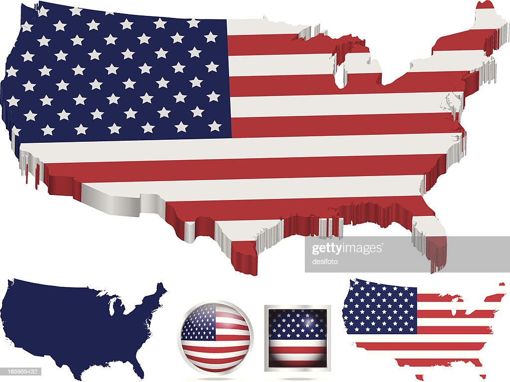 Usa Flag New Hampshire Map Vector Art Getty Images - Map of us vector