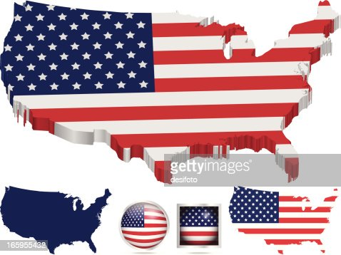 American Flag Over Map Of United States Vector Art Getty Images - Us flag map