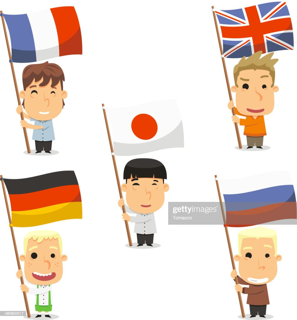 flag bearer kids england france japan germany and russia vector