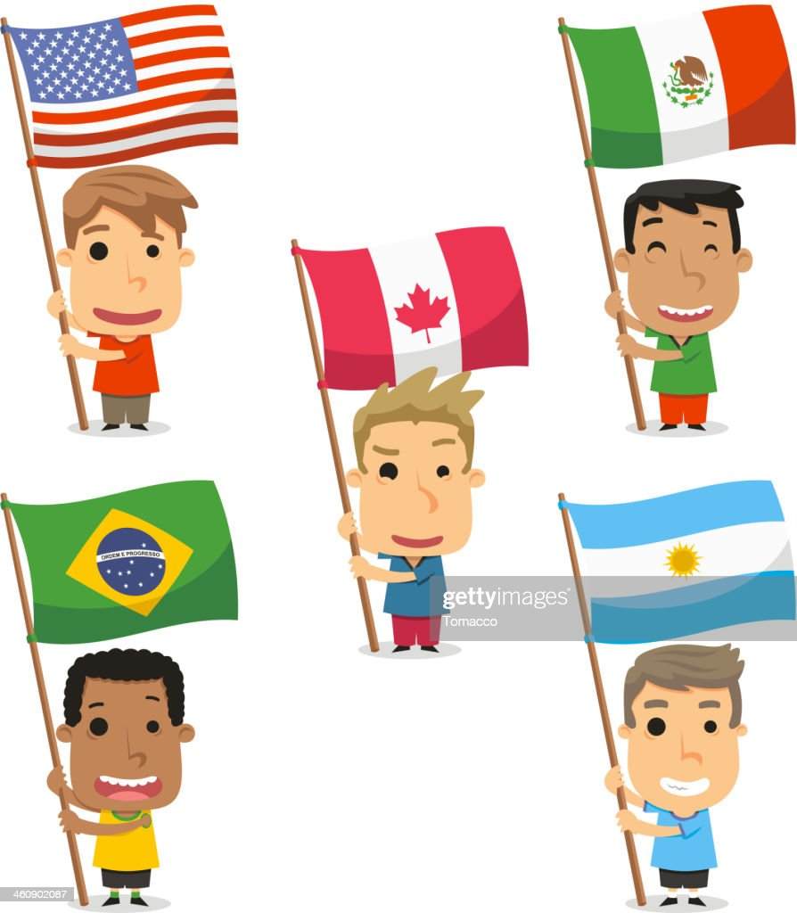 flag bearer kids from america mexico canada brazil argentina