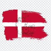 Flag Denmark from brush strokes and Blank map Denmark . High quality map of Denmark  and flag on transparent background. Stock vector. Vector illustration EPS10.