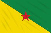 Flag French Guiana swaying in wind, realistic vector
