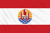 Flag French Polynesia swaying in wind, realistic vector