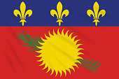 Flag Guadeloupe - variant swaying in wind, realistic vector
