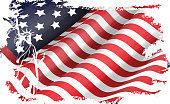 Illustration of USA flag in the EEUU maps