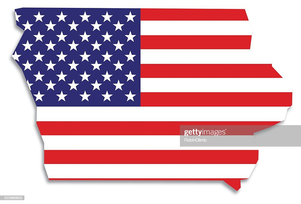 Usa Flag Iowa Map Vector Art Getty Images - Map usa iowa