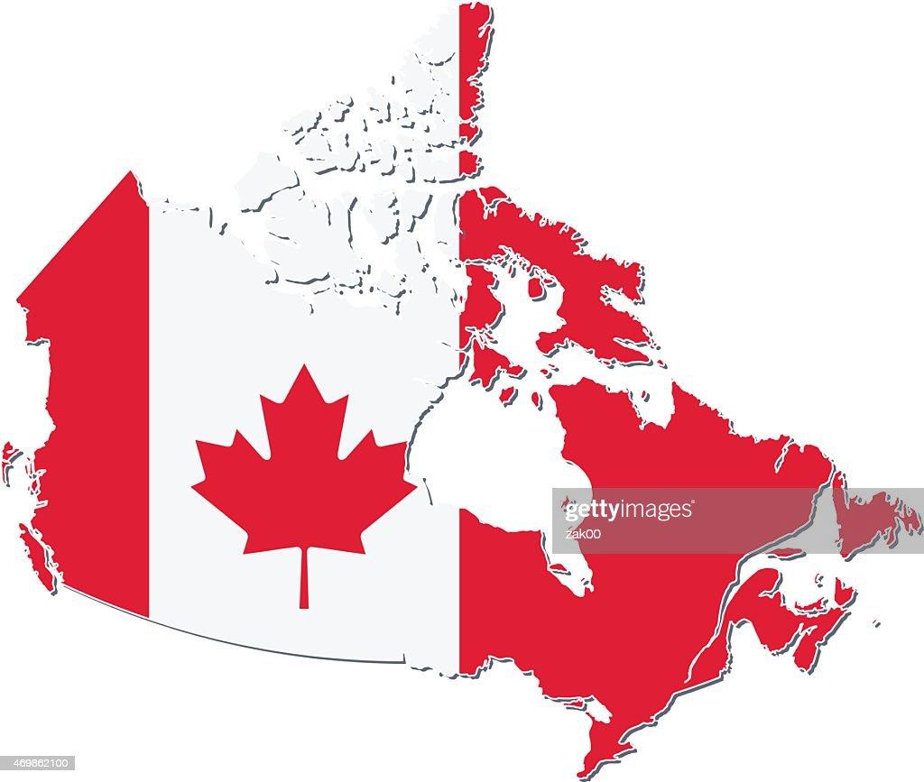 Flag Map Of Canada Vector Art Thinkstock