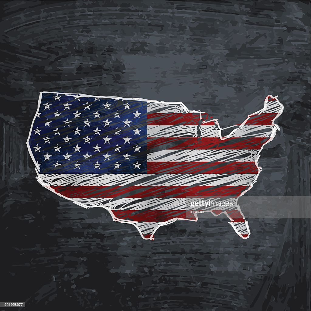 Usa Flag Map On Dark Chalkboard Background Vector Art Getty Images - Us map dark