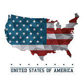 USA flag map United States of America country abstract vector illustration