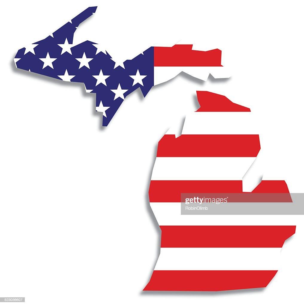 Usa Flag Michigan Map Vector Art Getty Images - Michigan map usa