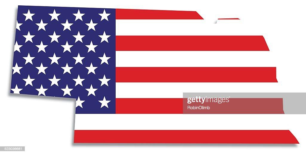 Usa Flag Nebraska Map Vector Art Getty Images - Nebraska map usa