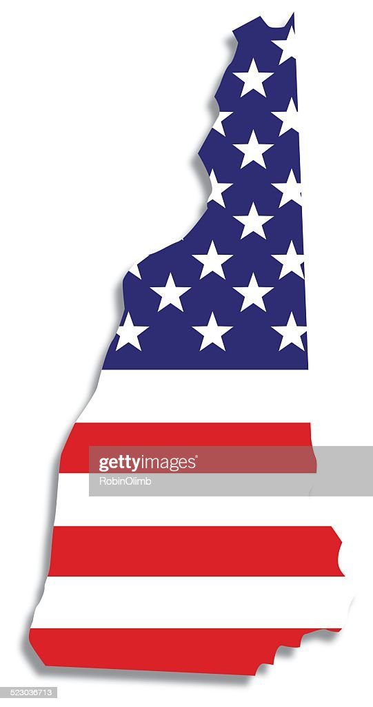 Usa Flag New Hampshire Map Vector Art Getty Images - New hampsire on us map