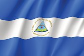 Flag Nicaragua realistic icon. State insignia of the nation in realistic style on the entire page. Waving state flag. National symbol in the form of a vector illustration