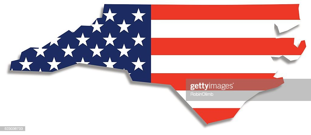 Usa Flag North Carolina Map Vector Art Getty Images - Where is nc on the us map