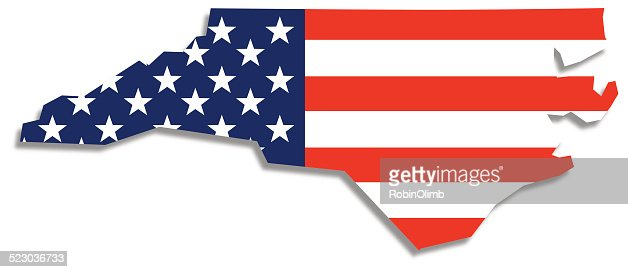 Usa Flag North Carolina Map Vector Art Getty Images - North carolina on a us map