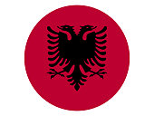 Vector illustration of the round flag of Albania