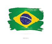 Flag of Brazil. Vector illustration on white background. Beautiful brush strokes. Abstract concept. Elements for design.