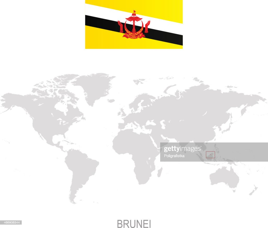 Flag Of Brunei And Designation On World Map Vector Art Getty Images