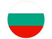 Vector illustration of the round flag of Bulgaria