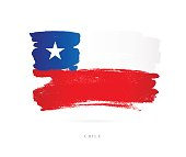 Flag of Chile. Vector illustration on white background. Beautiful brush strokes. Abstract concept. Elements for design.