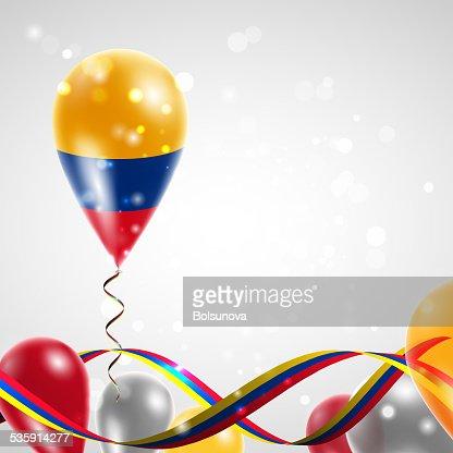 Flag of Colombia on balloon : Vector Art