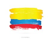 Flag of Colombia. Vector illustration on white background. Beautiful brush strokes. Abstract concept. Elements for design.
