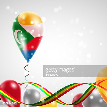 Flag of Comoros on balloon : Vector Art