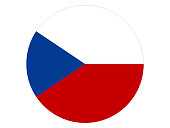 Vector illustration of the round flag of Czech Republic