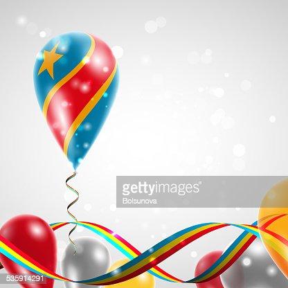 Flag of Democratic Republic of Congo on balloon : Vector Art