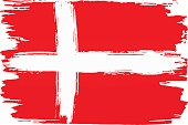 vector illustration of a flag of Denmark painted with brush strokes