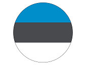 Vector illustration of the round flag of Estonia