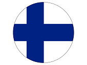 Vector illustration of the round flag of Finland