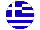 Vector illustration of the round flag of Greece