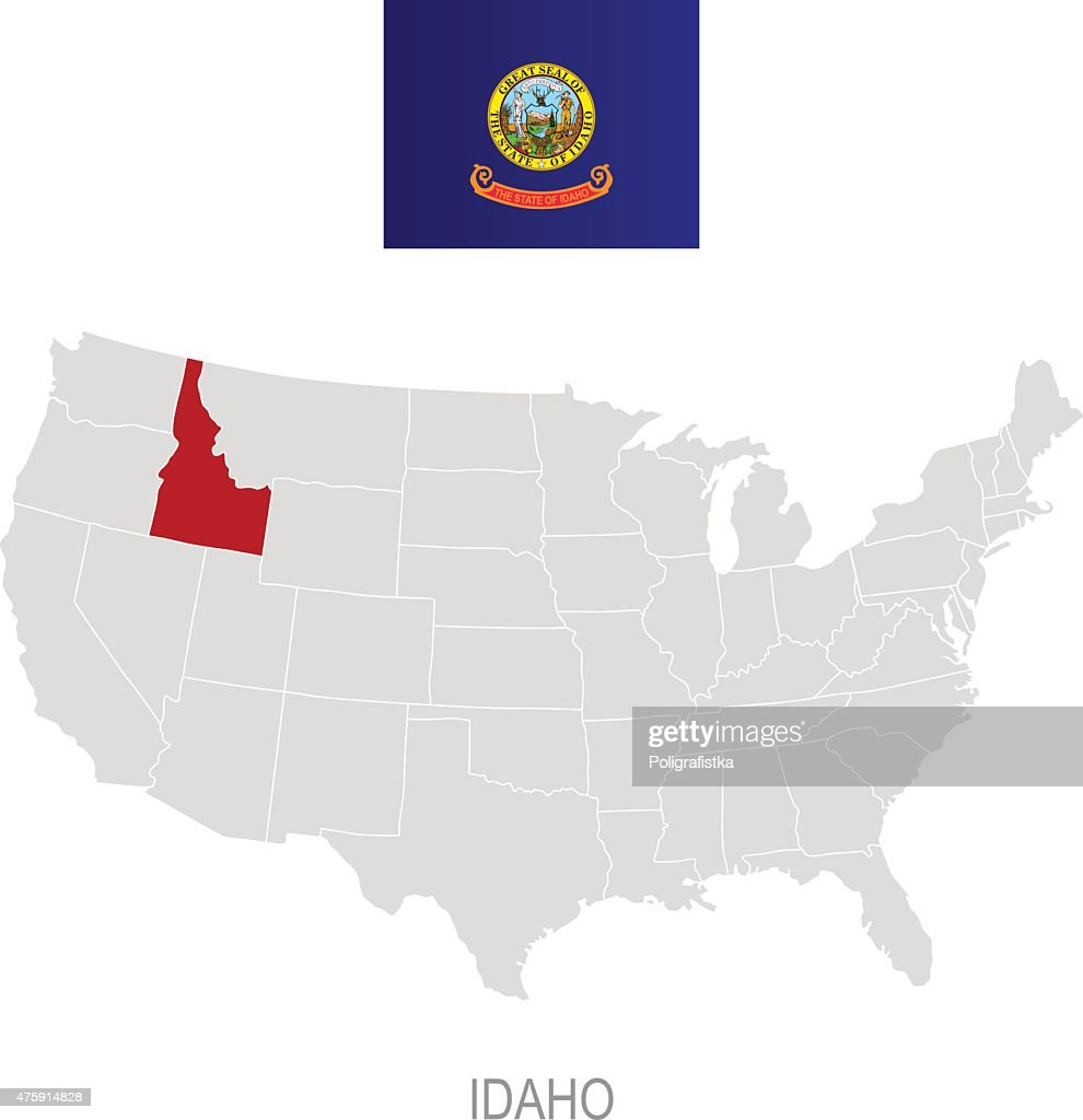 Flag Of Idaho And Location On Us Map Vector Art Getty Images - Us map idaho